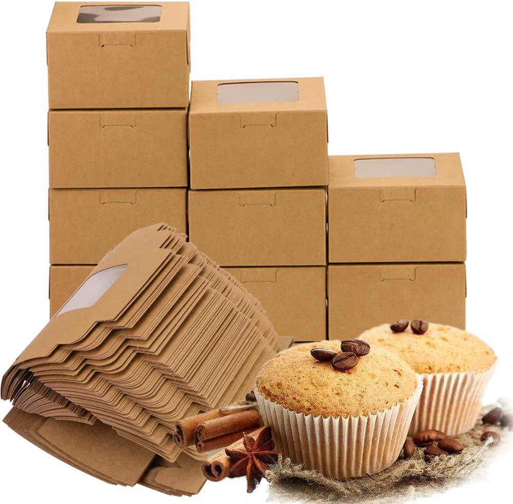 4 x 4 x 2.3 Inches UPlama 60Pack Brown Bakery Box Disposable Pastry Box with pvc Windowr,Clear Display Window,Gift Packaging Boxes for Donut,Cake,Pastry,Pie,Dessert Disposable Take-Out Boxes