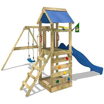 Extremely WICKEY Spielturm FreeFlyer Kletterturm mit Rutsche Schaukel  EB08