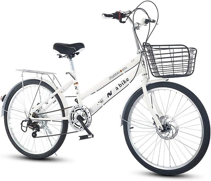 DRAKE18 Bicicleta de Mujer, 24 Pulgadas, Cambio de 6 velocidades, Frenos de Doble Disco, luz de la Ciudad, Viajero Retro, Damas para Adultos con Cesta para el ...
