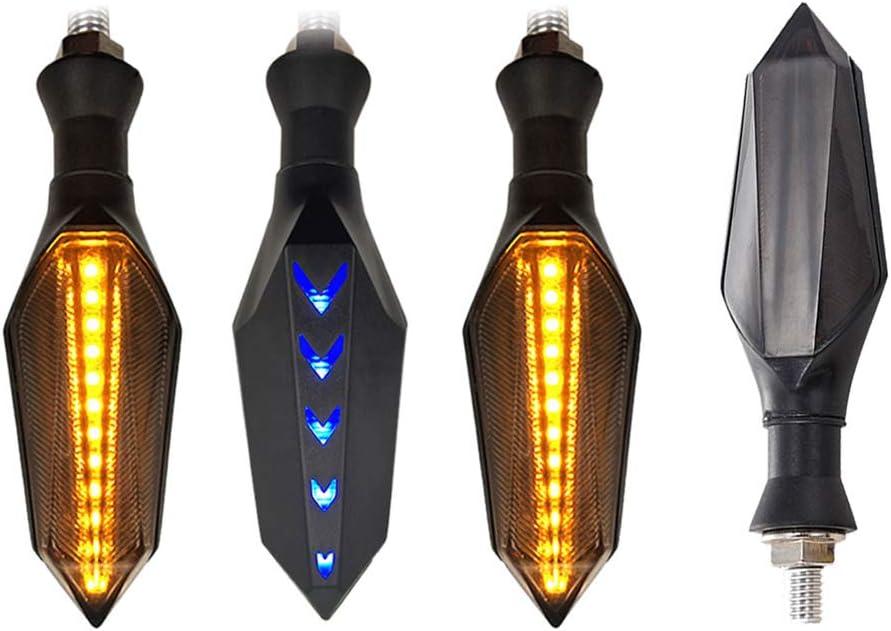 Frecce Indicatori Direzione a LED per Moto Universali Posteriori a Doppio a Due Colori Blu e Giallo Luci di Marcia Diurna Scorrevoli Impermeabile 12V 17LED