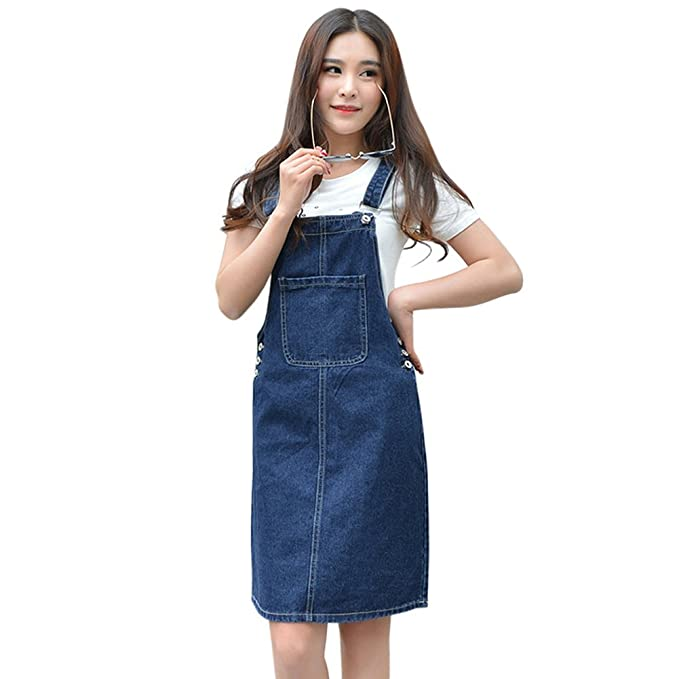 4476939d0c2 Drasawee Women s Casual Slim Long Jeans Trousers Sweet Overalls Denim Dress  S Blue