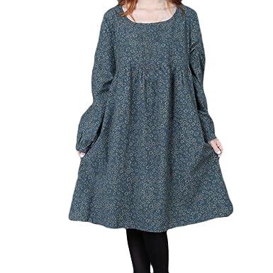 Teresamoon Women Plus Size Flower Printing Long Sleeves Loose Long Section Dress