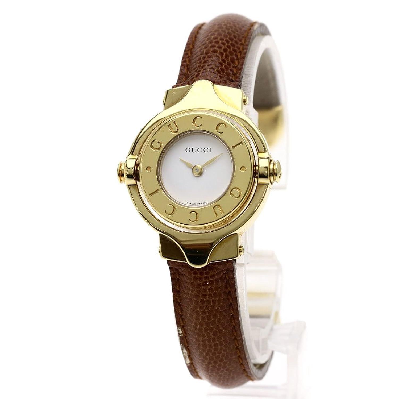 [グッチ]バングル 回転 腕時計 GP/レザー レディース (中古) B07FCZS5GL