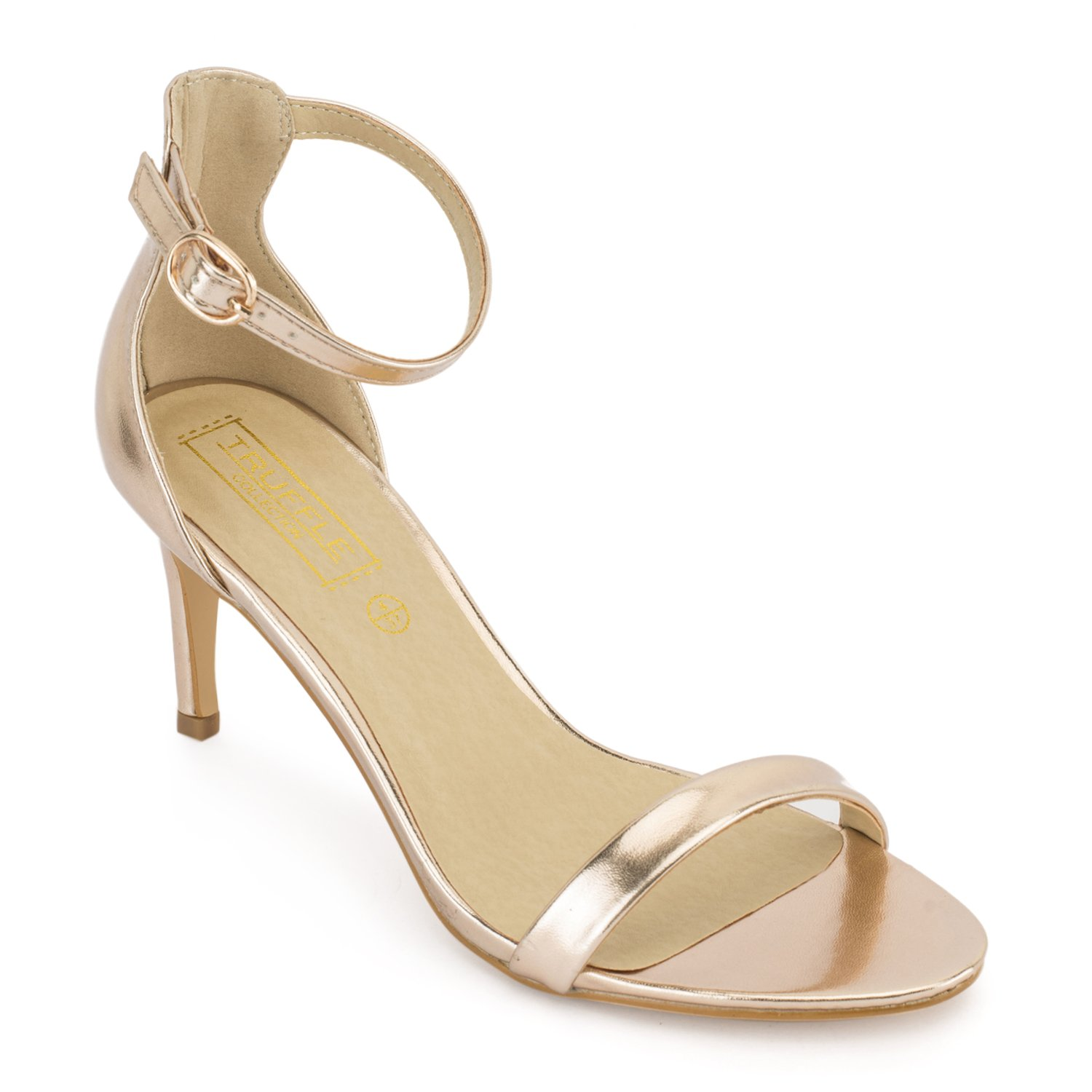 c73845f4f162 TRUFFLE COLLECTION Rosegold Barely There Low Heel Sandals  Buy Online at Low  Prices in India - Amazon.in