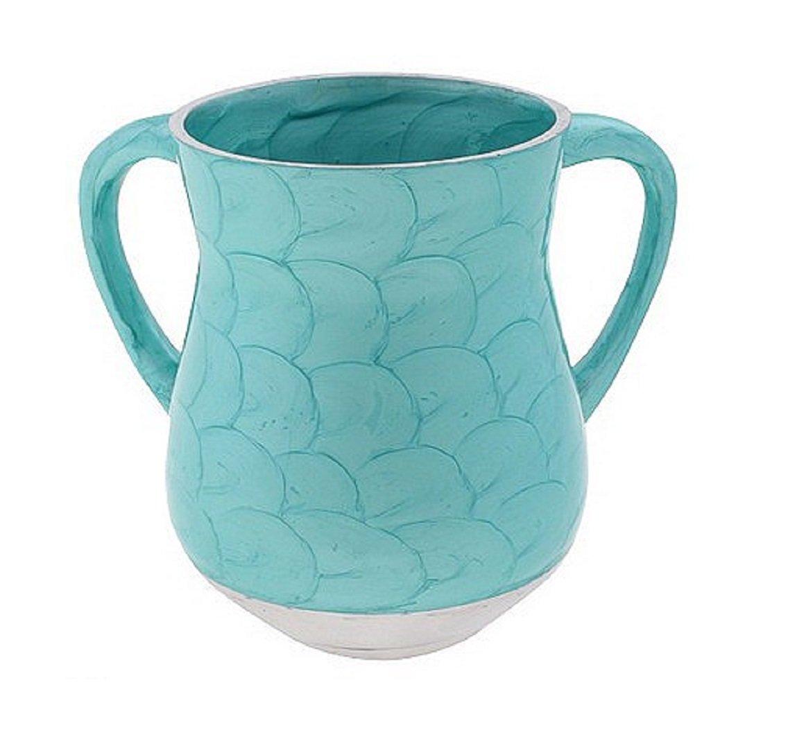 Art Judaica Wash Cup Polyresin Turquoise Waves - Jewish Hand Washing - Netilat Yadayim