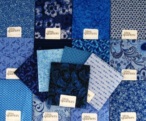 FAT QUARTER ~ Set of 10 100 % COTTON ~ BLUE ~ Quilt Fabric ~ CRAFTS ~ SEWING