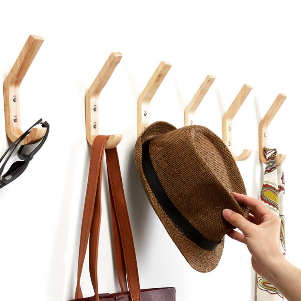 para la Entrada Juego de 4 percheros de Pared de Madera Natural para Puerta 10 Ganchos para Colgar Sombreros o Abrigos DYJFF