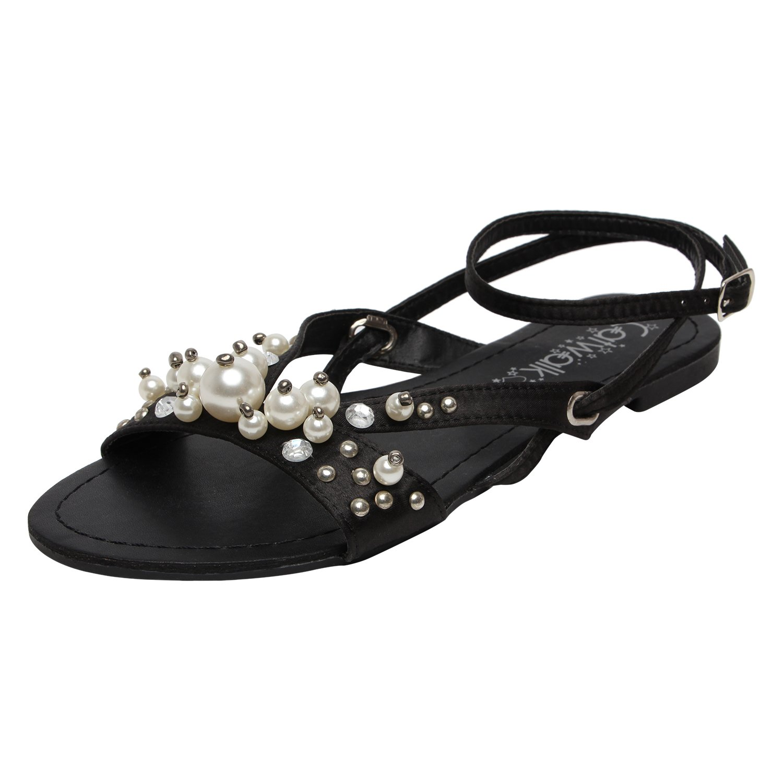 Catwalk Black Leather Ethnic Sandals for Women's