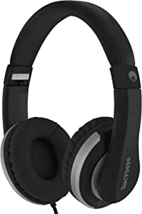 ROCKPAPA I22 Foldable Adjustable On Ear Headphones with Microphone for Kids/Adults iPhone iPad iPod Tablets MP3/4 DVD Computer Black Grey