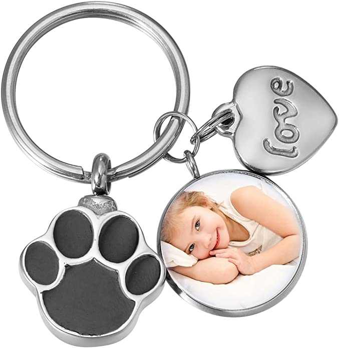 Bracelet or Keychain Keepsake Always in my Heart For Necklace Sympathy Gift Pet Memorial Paw Print URN Pendant Only