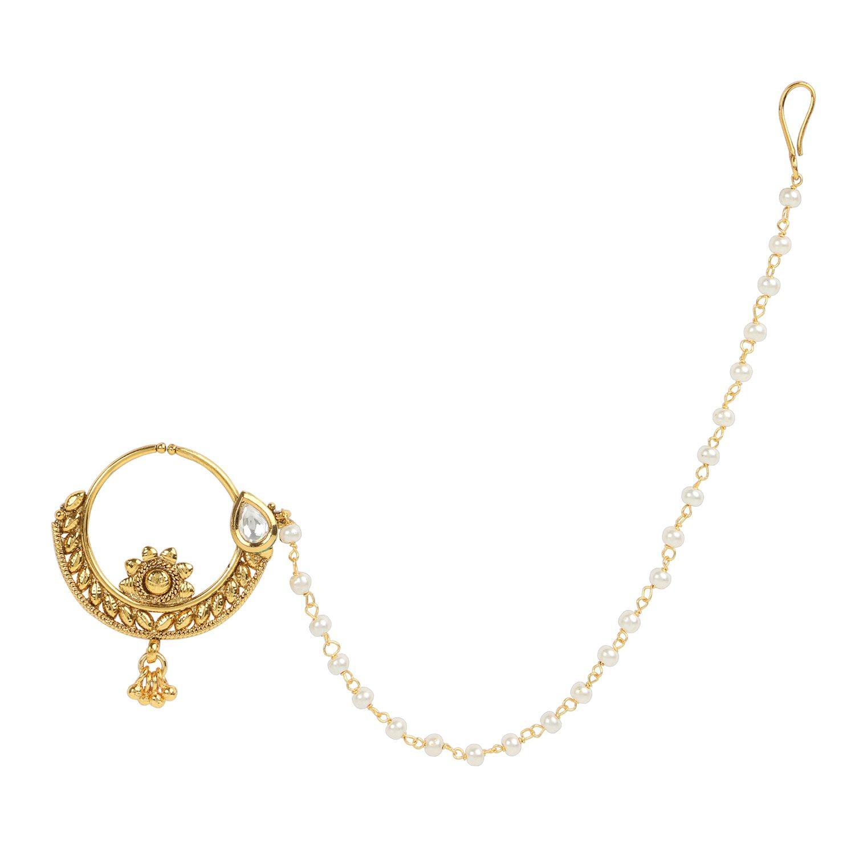 Buy Dancing Girl Nath Bridal Nathni White Copper Alloy Nose Ring