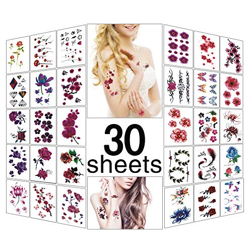 Mixed Style Body Art Temporary Tattoos Paper Waterproof Tattoo (30 Sheets) -