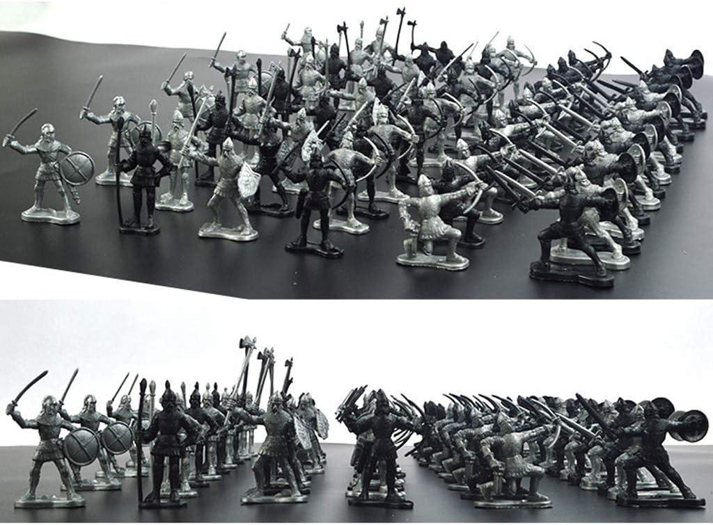 YXYOL Figura de los Soldados Modelos Medievales Caballeros Guerrero niños de Juguete, Mini Simulación Guerrero Antiguo Soldado Figuras Modelo estático (60pcs)