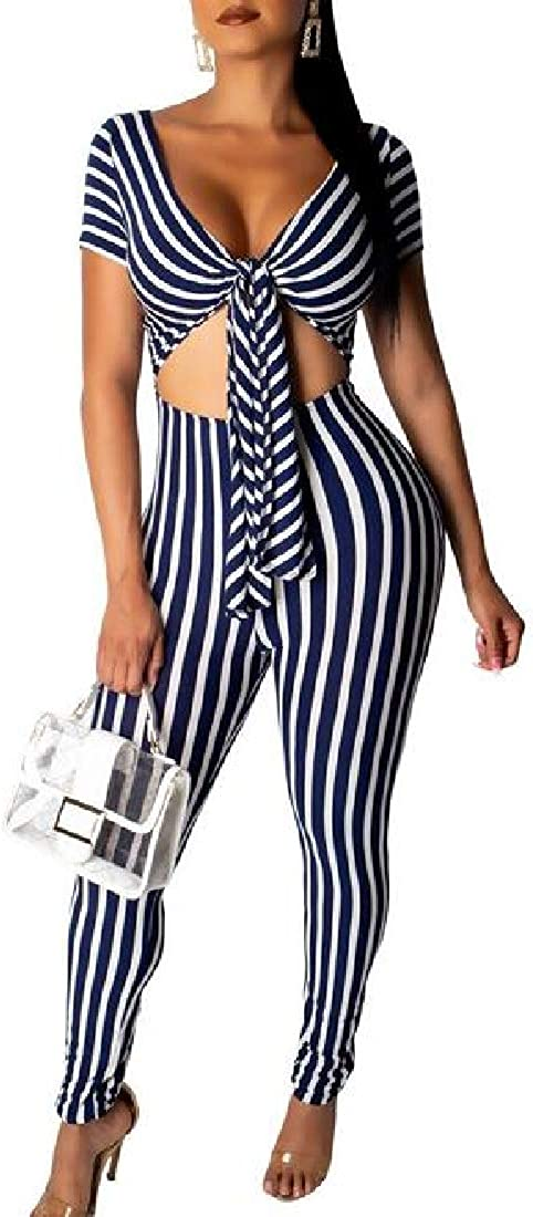 UUYUK Women Tie Front Striped Stylish Cut Out Party V Neck Long Rompers