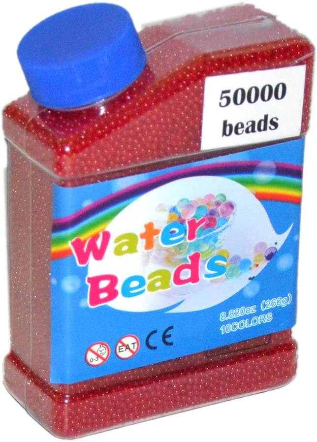 MINLIN 50000pcs/bag Home Decor Pearl Shaped Crystal Soil Water Beads Bio Gel Ball for Flower/Weeding Mud Grow Magic Jelly Balls (Fuschia)
