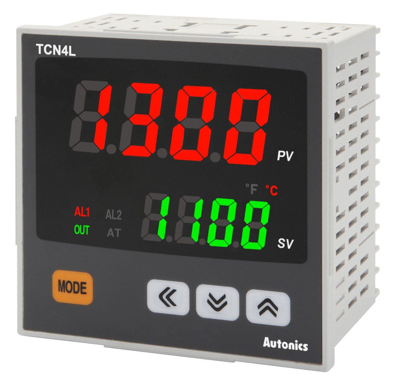 Autonics TCN4L-24R Temp Control, 1/4DIN, Dual display 4 Digit, PID Control, Relay & SSR Output, 2 Alarm Output, 100-240 VAC