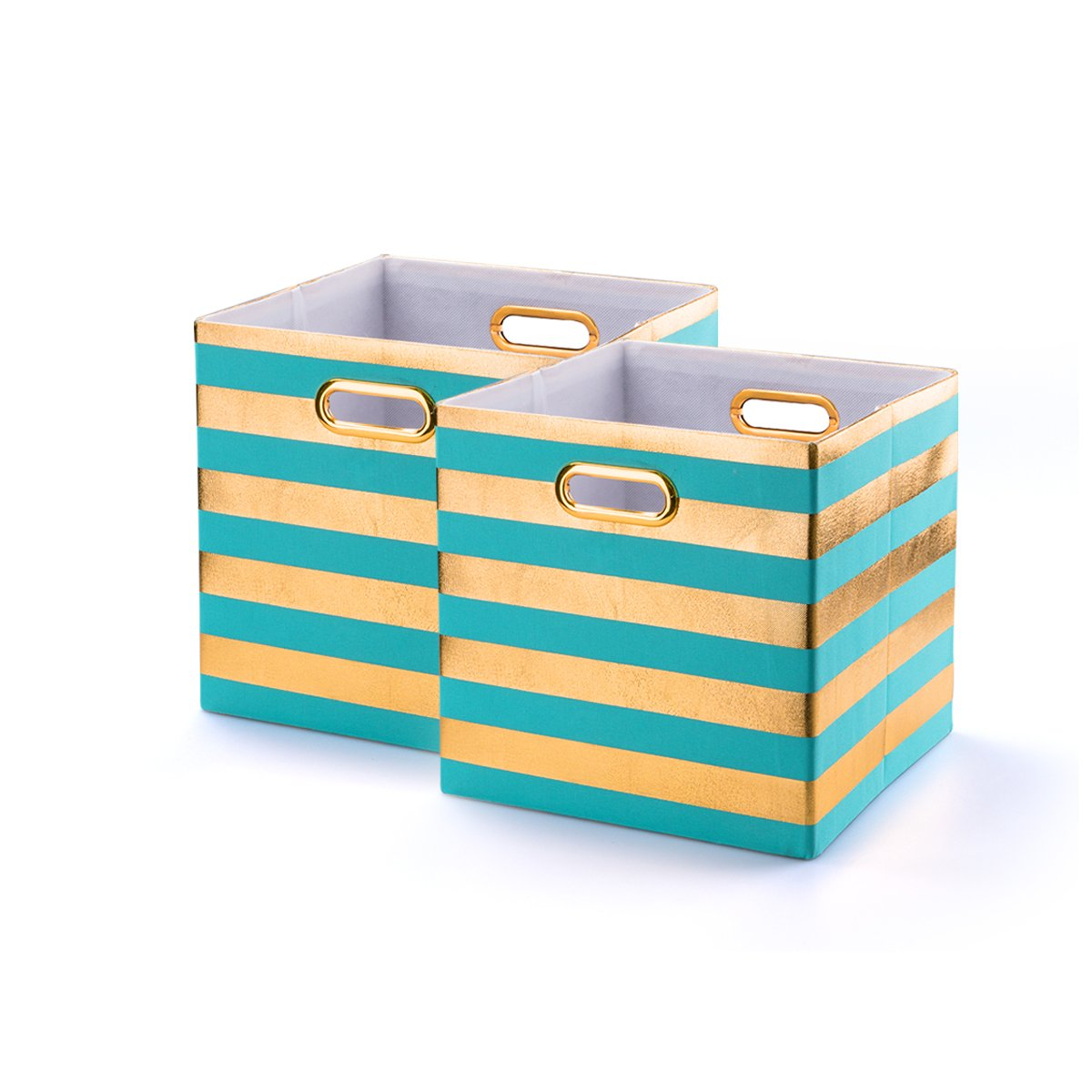 BAIST Decorative Storage Cubes,Pretty Cheap Foldable Linen Fabric Bed Storage Bins Baskets For Toys Clothes Towel First Day of School-2 pack,Aqua Stripe