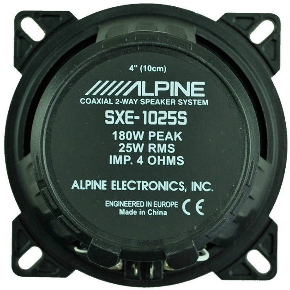 Alpine SXE-1025S SXE 1025S Pareja de Altavoces difusores de 10,00 cm 100 mm 4 de 25 Watt rms y 180 Watt MAX de predisposici/ón Sistema 2 Calles coaxiales por alojamientos est/ándares Coche