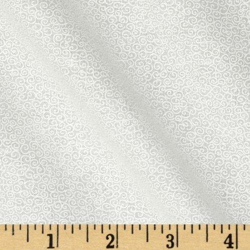 Santee Print Works Tone Scrolls White Fabric by The Yard