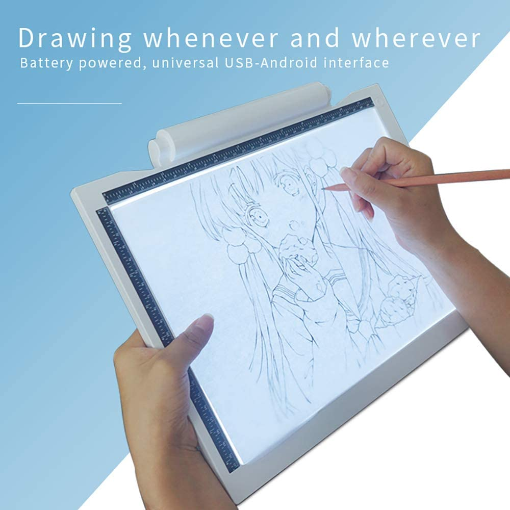 SZDPC LED Tavoletta Luminosa per Disegno Copia Tracing,A4 Ultrasottile Drawing Pad con Luminosit/à Regolabile,Alimentato a Batteria o USB