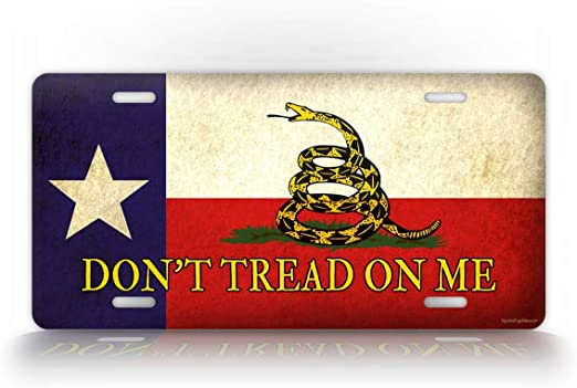 """Vintage Rustic USA American Gadsden Don/'t Tread On Me 6/""""x12/"""" License Plate Sign"""