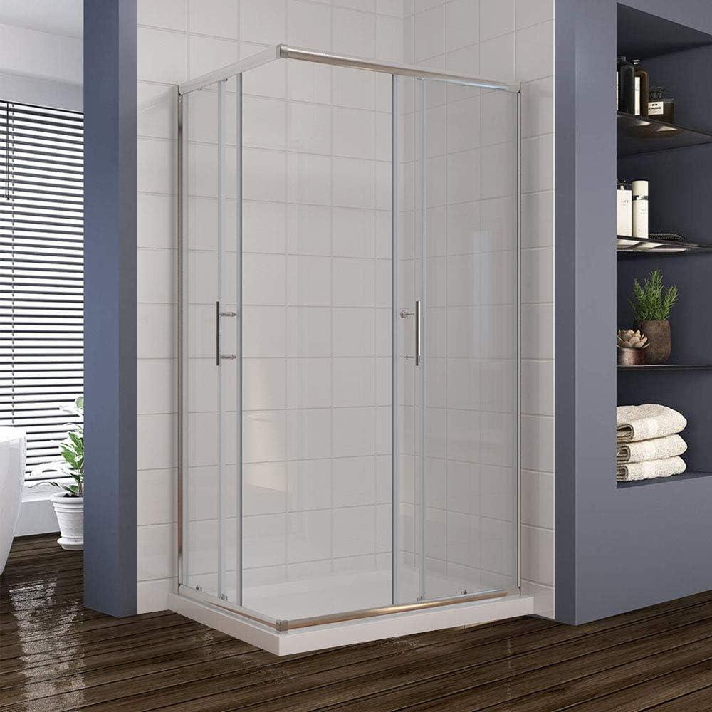 Cabina cerrada para ducha, con entrada de puertas corredizas con ...