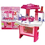 """Velocity Toys Deluxe Beauty Kitchen Appliance Cooking Play Set 24"""" w/ Lights & Sound"""