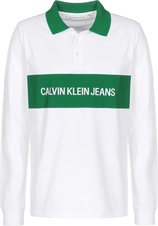 Calvin Klein Jeans Contrast Collar Polo de Manga Larga: Amazon.es ...
