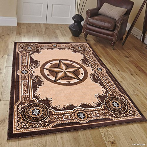 - Allstar 8x10 Chocolate Traditional Rectangular Accent Rug with Ivory and Mocha Western Star Medallion Design (7' 9