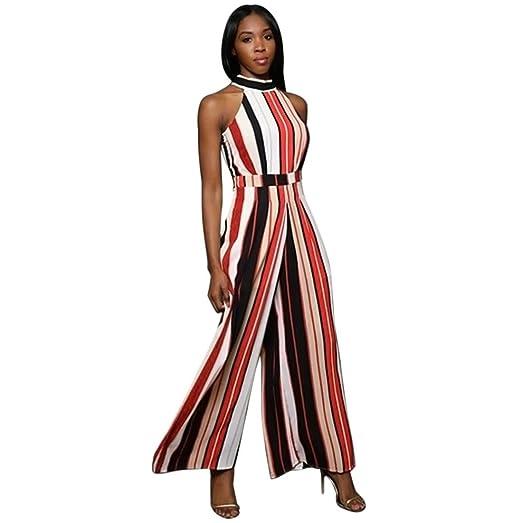 Womens Sleeveless Stripe Turtleneck High Waist Flared Wide Leg Pants Jumpsuit Romper