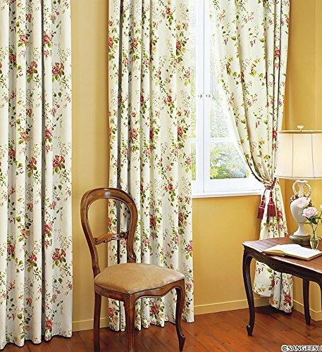 サンゲツ 明るく華やかなエレガンスで上品な花柄プリント フラットカーテン1.3倍ヒダ SC3435 幅:250cm ×丈:110cm (2枚組)オーダーカーテン   B07849DJ7J