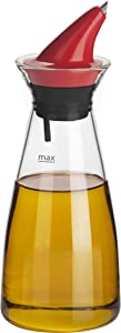Trudeau Perfect DRIPLESS Bottle Oil Dispenser, 10.5oz, Green Red Black Clear