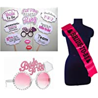 PARTY PROPZ Bachelorette Combo 1 Bride to BE Eye Glass, 1 Bride to BE SASH & 1 Set of Bride to BE PHOTOBOOTH /Bachelorette Party Supplies/ Bachelorette Party Decoration