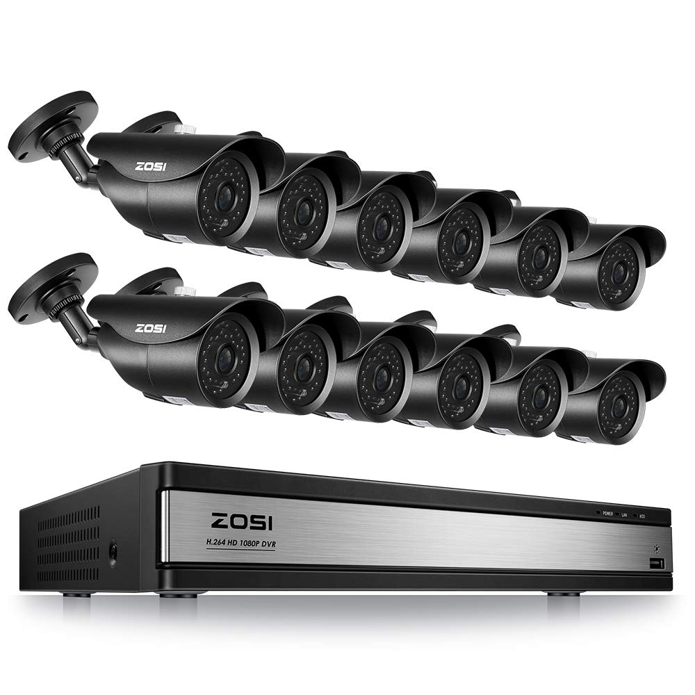ZOSI 16CH 1080P Security DVR System 12 Surveillance Cameras with 120ft Night Vision Motion Detection IP67 Waterproof for Outdoor Indoor CCTV Security