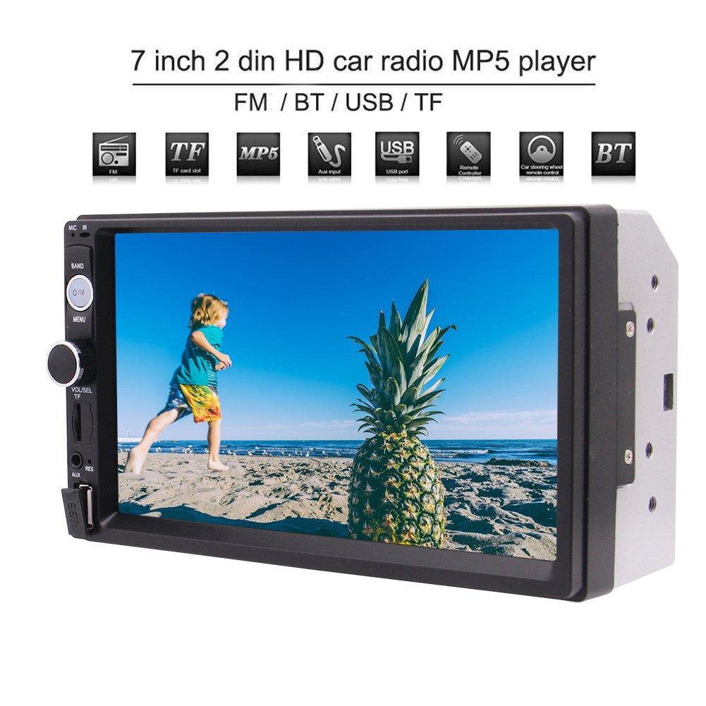 EinCar 7 Inch Universal Double 2 Din HD Car Stereo Radio In-Dash Headunit Bluetooth Car MP5 Multimedia Player Support USB/TF FM Radio AUX Input Cam-IN with Remote Control
