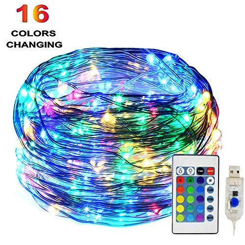 HAHOME 33Ft 100 RGB LEDs Waterproof Fairy Lights,USB Plug-in 16 Colors Changing String Lights with Remote and Timer, for Christmas Tree,Patio,Indoor Garden,Party,Bedroom Decorations