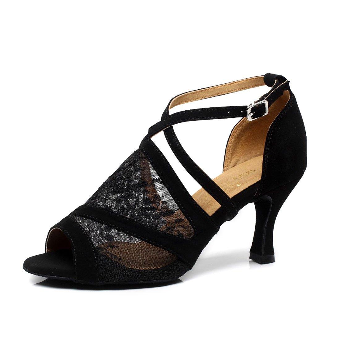 SUKUTU Femmes Mode Mesh Ballroom Latin Tango Danse Chaussures Dames Doux Semelle Haute Talon Chaussures pour Danse Classe SU014