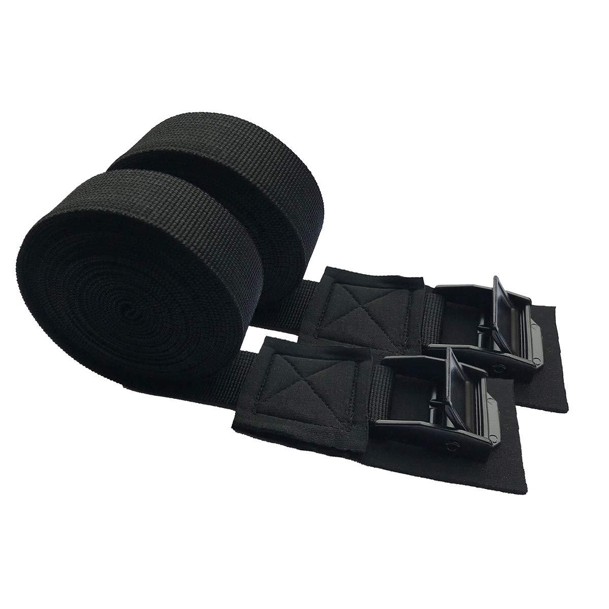 LIOOBO 2pcs Ceintures de Tension Sangle de Toit de Voiture Voiture Attacher des Sangles Bagages Bagages Kayak Planche de Surf Lier Ceinture Noir