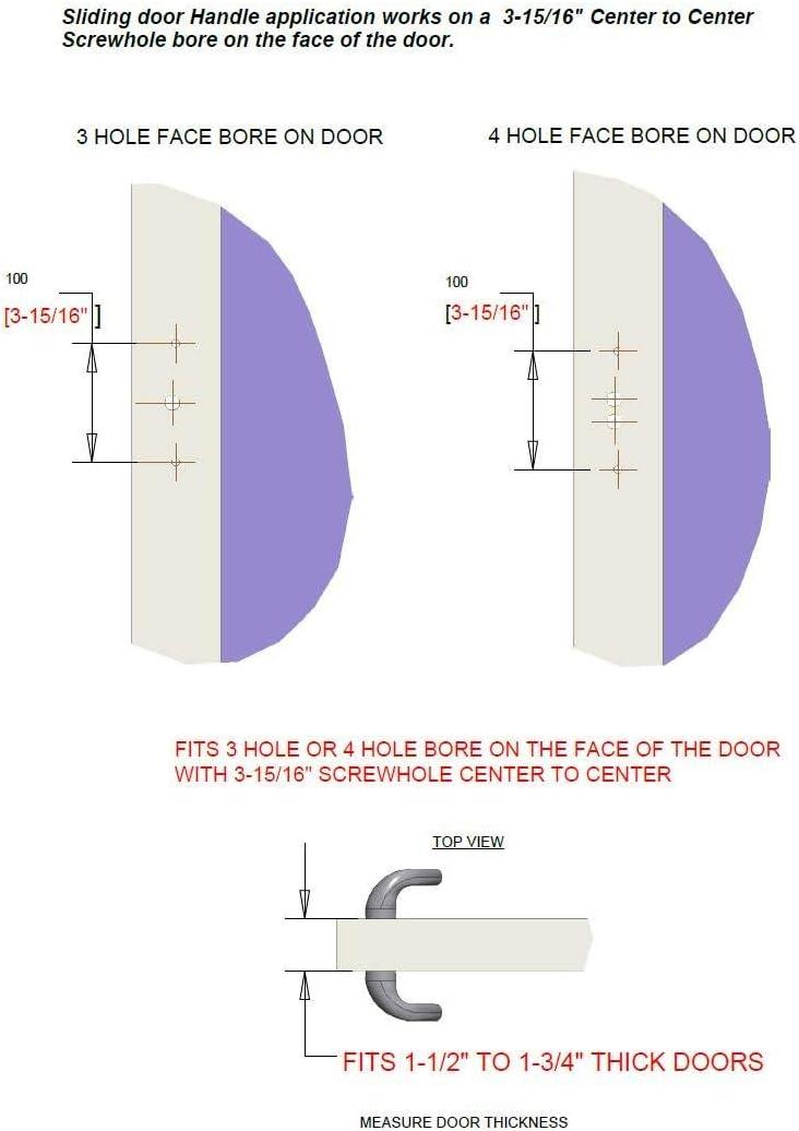 RockwellEuro-Charlotte Sliding Door Handle Set in Antique Black Finish fits 3-15//16 CTC Screw Holes,Residential Door Hardware Sliding Door Handles