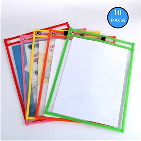 10pcs Dry Erase Pocket Sleeves Assorted Colors Stationery Students Children