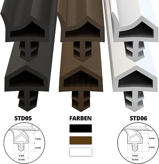 STEIGNER Burlete para Puerta y Ventana STD03 15m 8mm Blanco Junta de goma Perfil de estanqueidad para ventanas y puertas de PVC Aluminio Madera