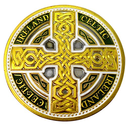 Celtic Coin - Carrolls Irish Gifts Collectors Edition Coloured Celtic Knot Cross with Ireland and Celtic Text Token