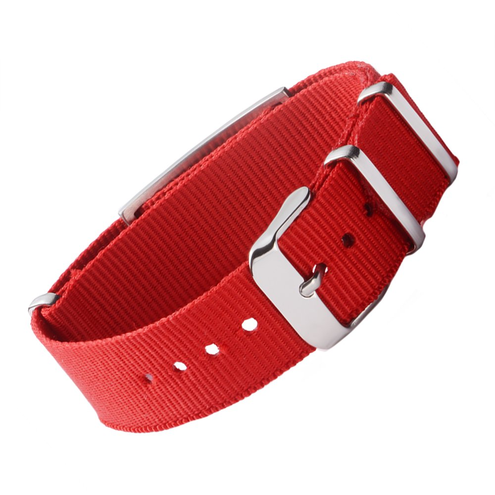 Pre-Engraving diabete Tipo 1 Tarring Sport Red Canvas Band Medical ID bracciali per Ragazzi Girls Donne