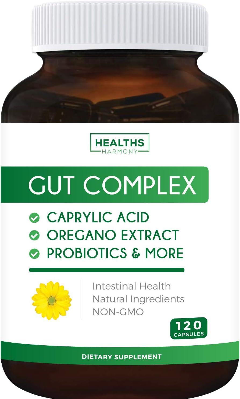 Gut Complex - Caprylic Acid, Oregano Oil & Probiotics (Non-GMO) Supplement - 120 Capsules (No Pills)