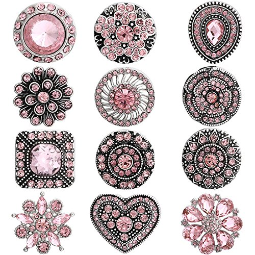 Mix 12 Pieces lot Big Chunky snap Button Jewelry Charm fit 18MM 20MM Snaps for Women (Pink) (Pink Rhinestones Snap)