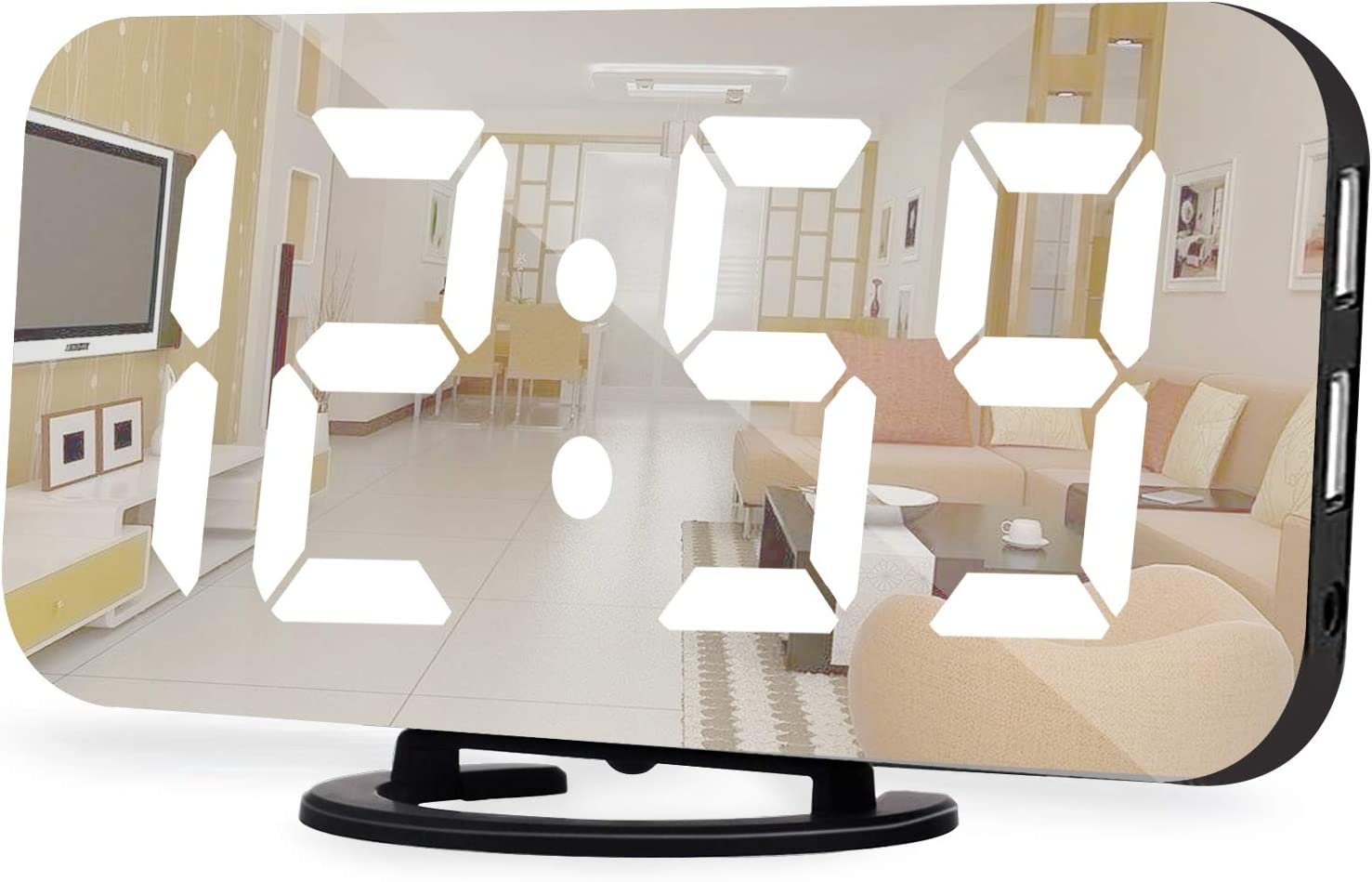 Digital Alarm Clock,6.5 Inch LED Mirror Electronic Clocks,with 2 USB Charging Ports,Snooze,12/24H,3 Adjustable Brightness,for Bedroom Home Office (Black)