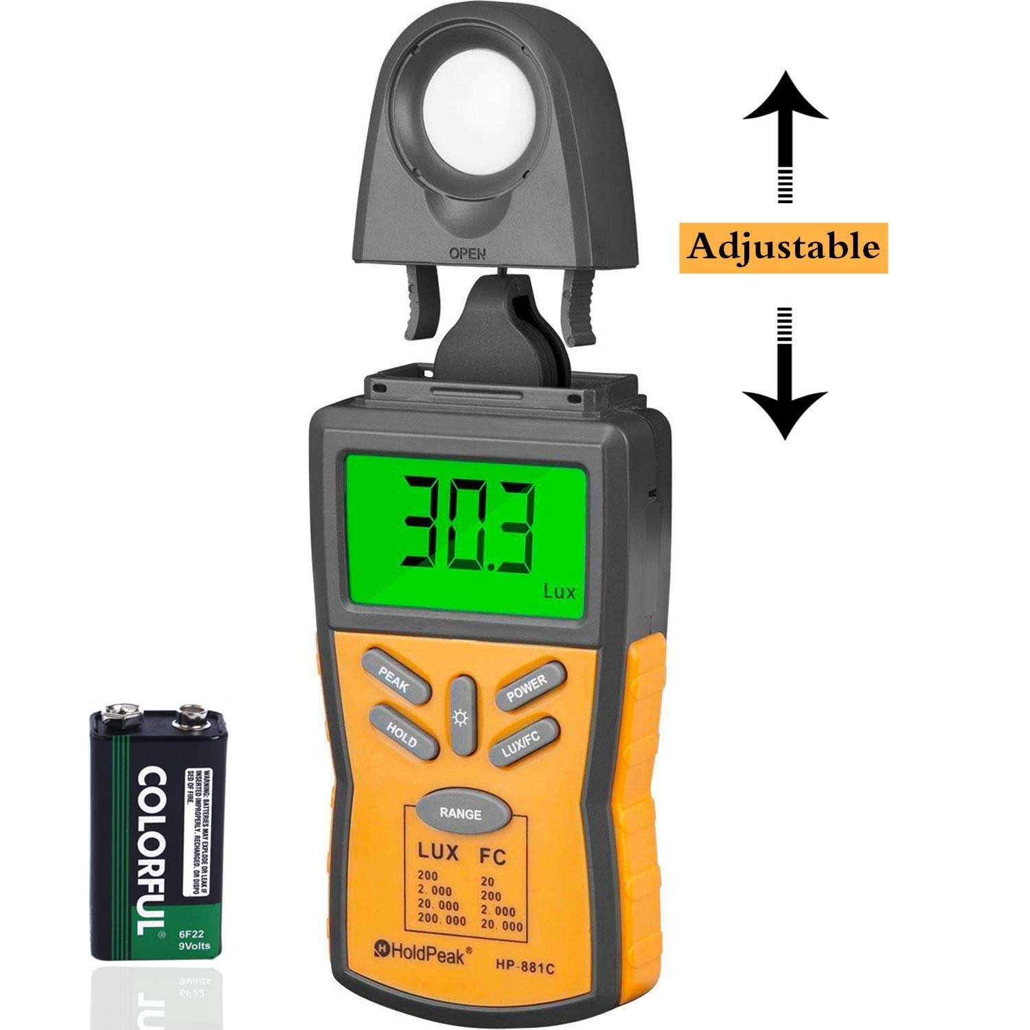 HOLDPEAK 881C Digital Light Meter,Lux Light Meter with Peak Hold, Lux/FC Unit, Data Hold and LCD Display,Range 0.1-200,000 Lux, 0.01-20,000 FC with Backlight for Plants and LED Lights by H HOLDPEAK