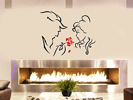 Beauty The Beast And The Red Rose Livingroom Bedroom Fireplace Wall Window  Decoration Decal Sticker Approx
