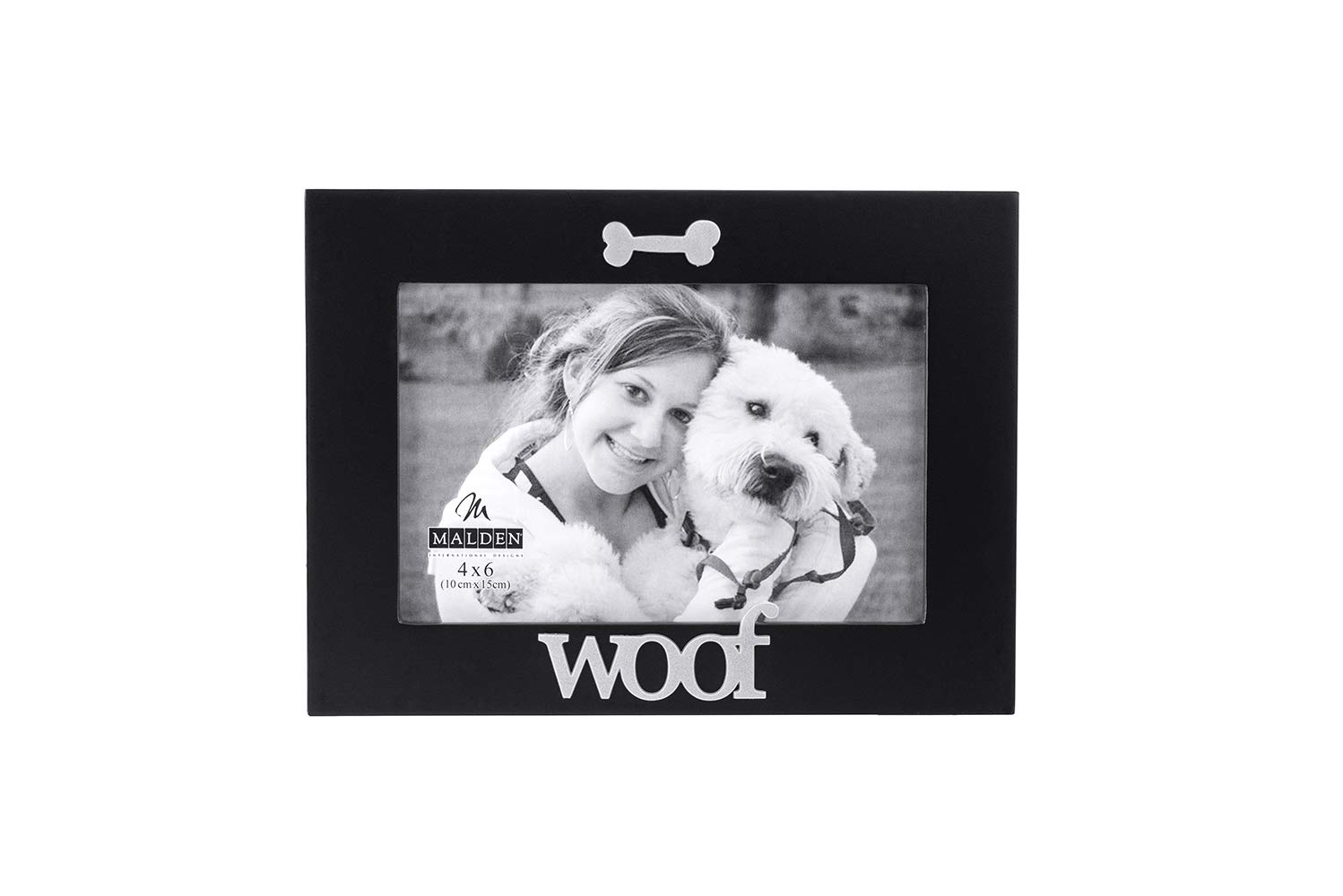 Malden International Designs Black Wood Expression Picture Frame, Woof, 4x6, Black by Malden International Designs