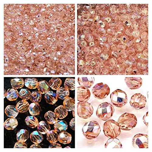 - Czech Fire-Polished Faceted Glass Beads Round 3mm, 4mm, 6mm, 8mm, Rosaline AB. Total 275 pcs. Set 1CFP 015 (3FP022 4FP122 6FP041 8FP034)